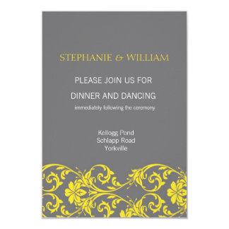 Carte grise et jaune de réception de mariage de carton d'invitation 8,89 cm x 12,70 cm
