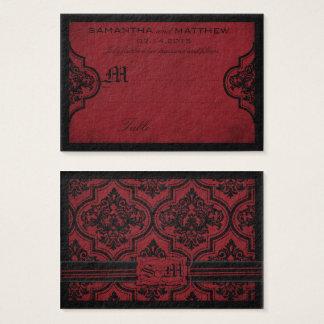 Carte grunge rouge d'endroit de mariage de damassé