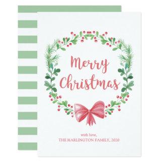 Carte Guirlande de Noël. Vacances d'hiver. Vert et rouge