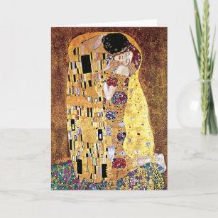 Carte Gustav Klimt - Le baiser - Art nouveau Vintage
