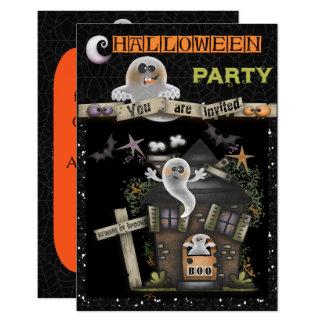 Carte Halloween - Chambre hantée mignonne de fantôme (2)