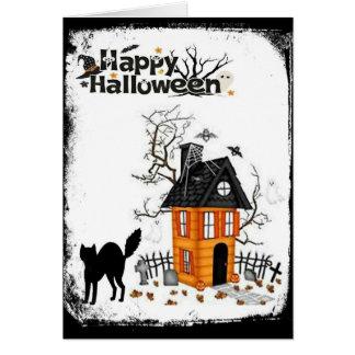 Carte hantée heureuse de Chambre de chat noir de