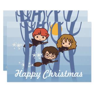 Carte Harry, Ron, et vol de Hermione dans Noël en bois