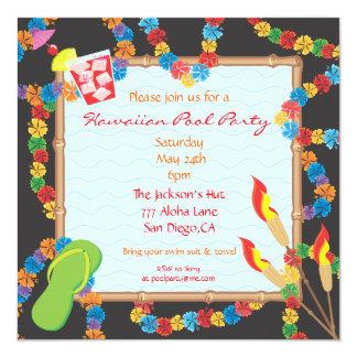 Carte hawaïenne d'invitation de réception au bord carton d'invitation  13,33 cm
