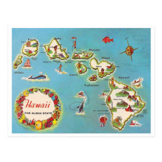 Carte hawaïenne vintage carte postale