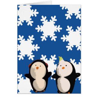 Carte (HB) - laissez-la neiger des pingouins