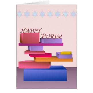 Carte heureuse colorée de Purim de blocs