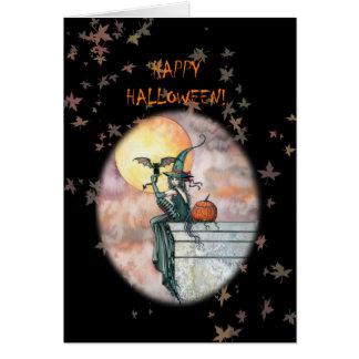 Carte heureuse de chat de sorcière de Halloween