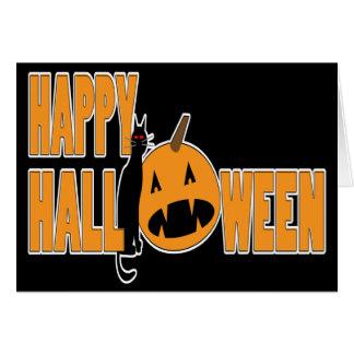 carte heureuse de Halloween de chat noir et de