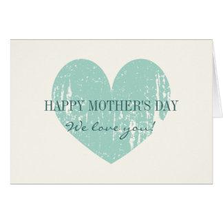 Carte heureuse de jour de mères avec le coeur