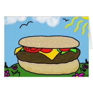 Carte heureuse de jour d'hamburger (blanc)