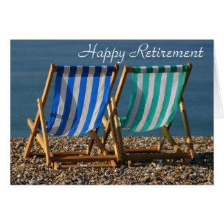 Carte heureuse de retraite de chaises longues