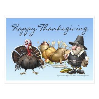 Carte heureuse de Thankgiving avec le pèlerin et