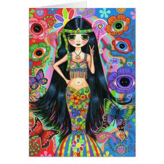 Carte hippie de sirène de fille
