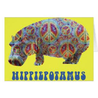 Carte hippie d'hippopotame de hippie de paix et
