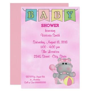Carte Hippopotame de bébé de baby shower