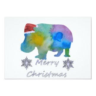 Carte Hippopotame de Noël