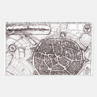 Carte historique de Nordlingen, Allemagne en 1651 Sticker Rectangulaire