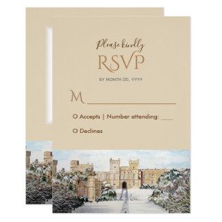 Carte Hiver à la réponse RSVP de mariage de château de