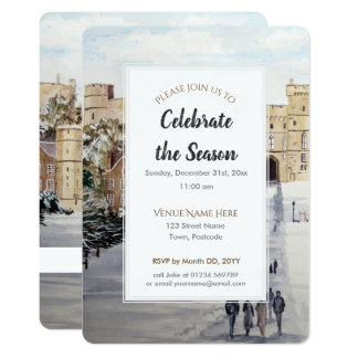 Carte Hiver à l'invitation de fête de saison de château