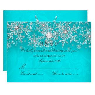 Carte Hiver en cristal turquoise RSVP d'argent de flocon