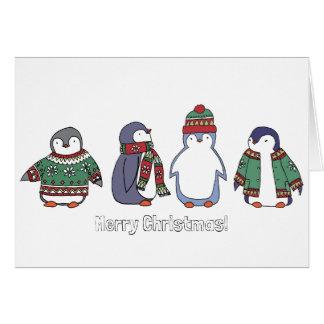 Carte hivernale de pingouins
