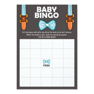Carte Homme de bébé de cravate d'arc de bingo-test de