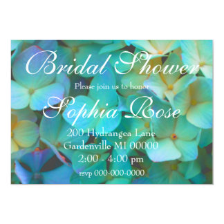 Carte Hortensia bleu turquoise