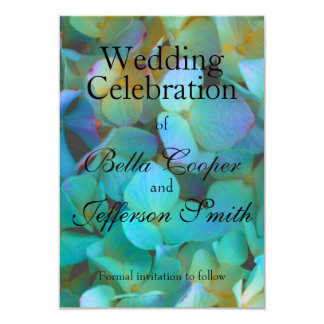 Carte Hortensia bleu turquoise - collection de mariage
