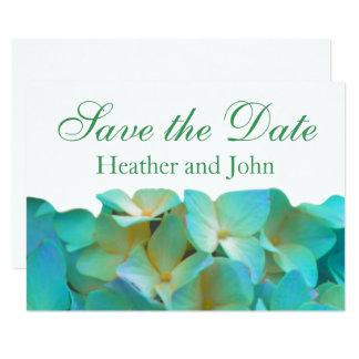 Carte Hortensias bleus turquoises