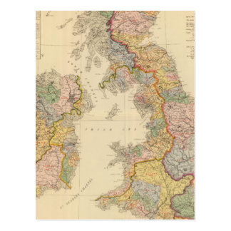 Carte hydrographique, îles britanniques carte postale