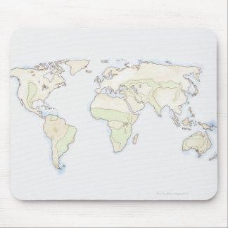 Carte illustrée 2 du monde tapis de souris