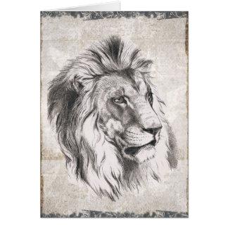 Carte illustrée de joyeux anniversaire de lion de