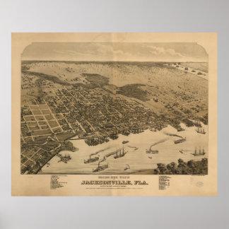 Carte imagée vintage de Jacksonville FL (1874) Poster