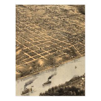 Carte imagée vintage de Kansas City (1869)