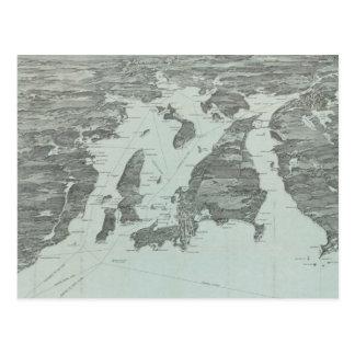 Carte imagée vintage de la baie de Narragansett