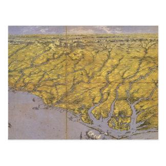 Carte imagée vintage de la Caroline du Nord (1861)