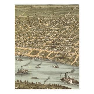 Carte imagée vintage de Memphis Tennessee (1870)