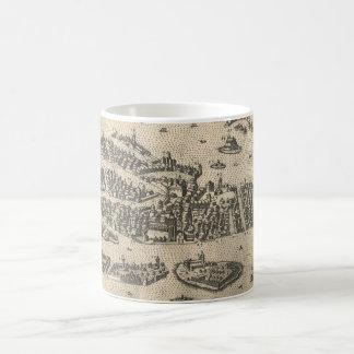 Carte imagée vintage de Venise Italie (1573) Mug Blanc