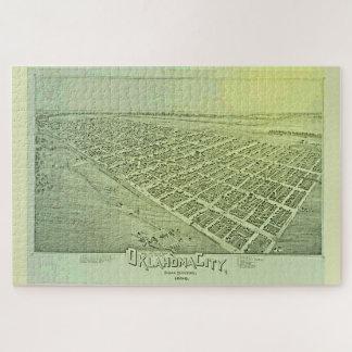 Carte imagée vintage de Ville d'Oklahoma en 1890 Puzzle