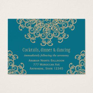 Carte indienne de clôture de réception d'or bleu