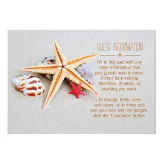 Carte Information d'invité d'étoiles de mer de thème de