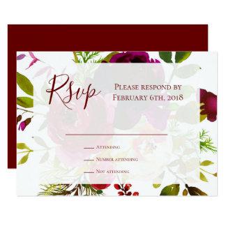Carte Insertion chic florale de réponse de Marsala