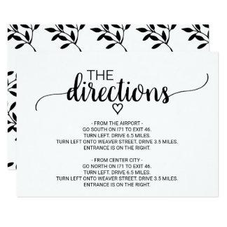 Carte Insertion noire et blanche simple de directions de