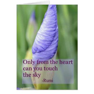 Carte inspirée de citation de Rumi d'iris