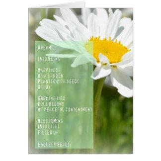 Carte inspirée de poème rêveur de marguerite
