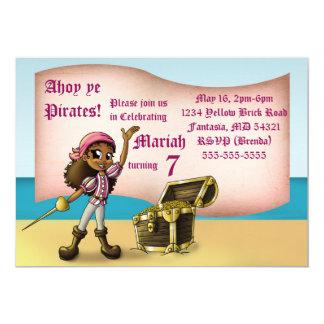 "Carte ""Invitation"" 7"" d'anniversaire de pirate de fille"