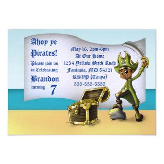 """Carte """"Invitation"""" 7"""" d'anniversaire de pirate de garçon"""