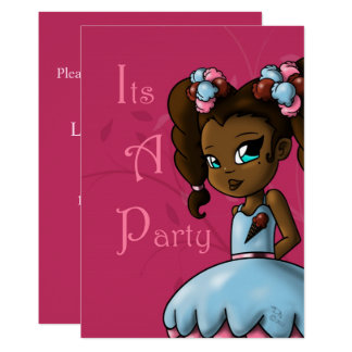 "Carte ""Invitation douce"" ""5 x 7"" d'anniversaire d'Ebonie"