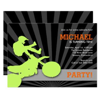 Carte Invitation, vert et orange de Dirtbike de